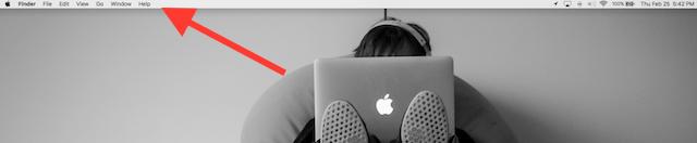 OS X menu bar