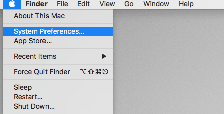 System Preferences in Apple menu bar