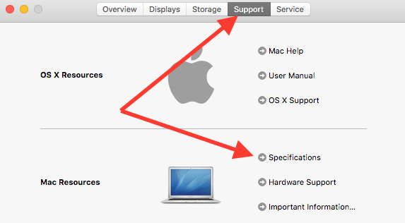 support specifications for Mac hardware