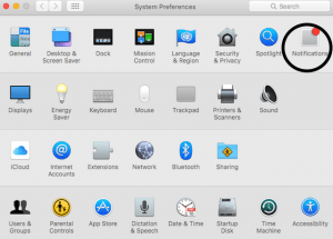 Notifications tab in settings in OS X