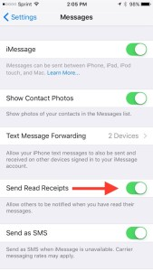 Send Read Receipts toggle on iPhone