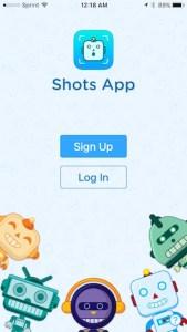 Shots app welcome screen