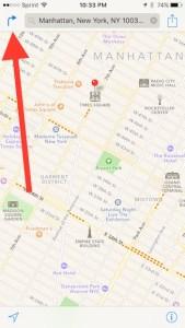 hit arrow key in Apple Maps