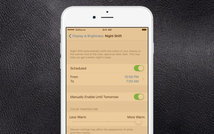 night shift iphone enabled