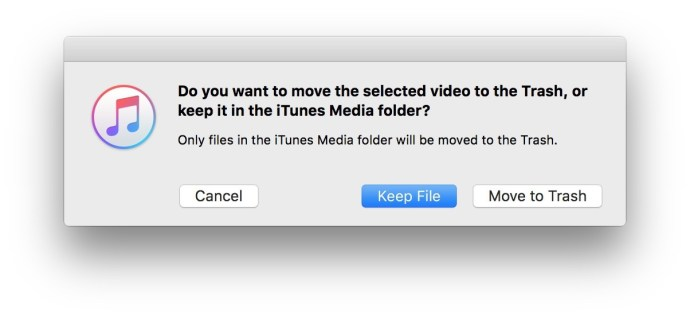 iTunes ta bort behåll fil