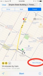 more routes option in Apple Maps