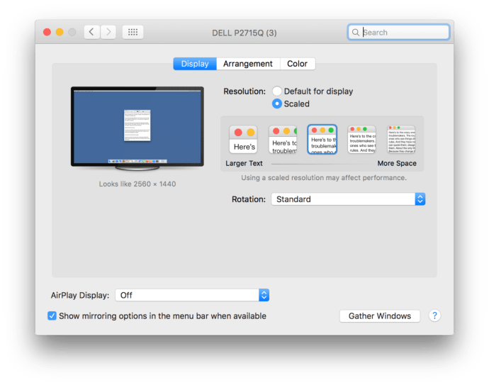 mac os x system preferences resolution default