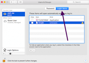 Login Items tab in System Preferences