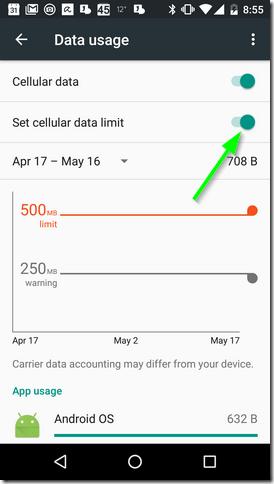 Set cellular data limit