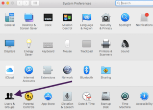 Users and Groups in System Preferences