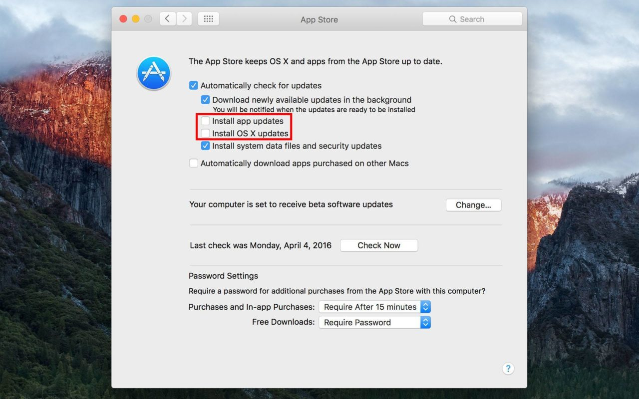 How to Disable Automatic Updates in OS X El Capitan