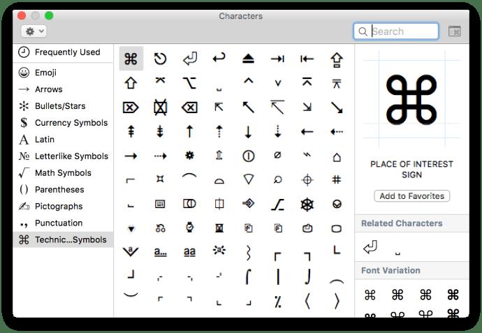 emojis technical symbols
