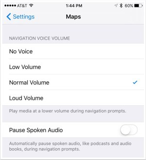 iPhone Settings Maps