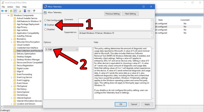 windows 10 allow telemetry