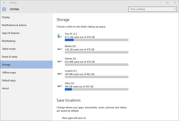 windows 10 settings system storage