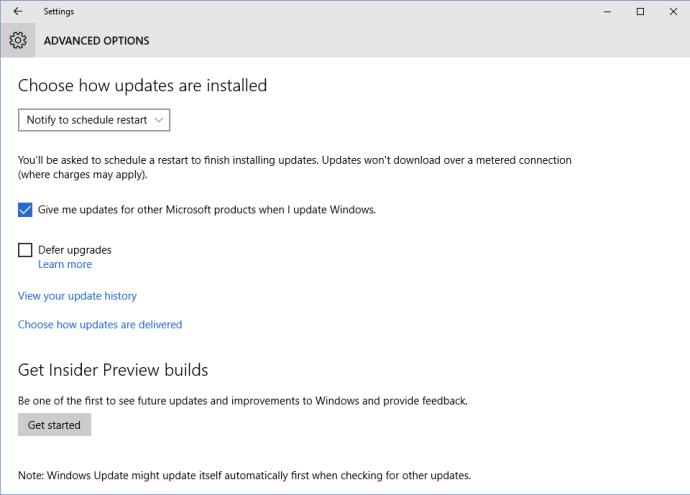 windows 10 settings update