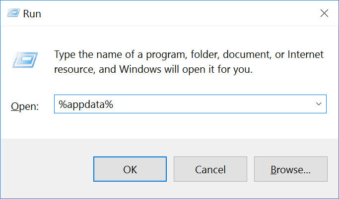 windows run appdata