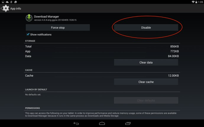 Download manager disable