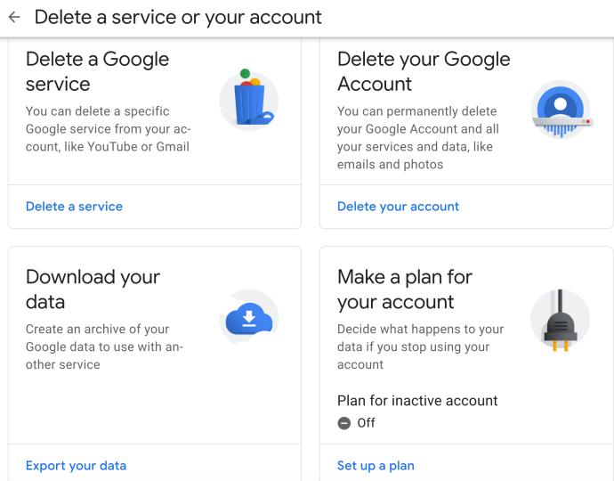 Google account options