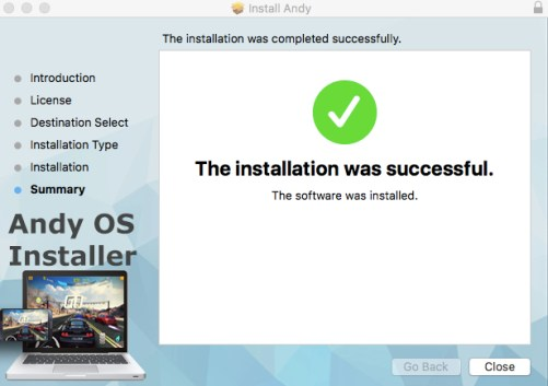 Andy install success