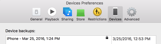 Devices in iTunes