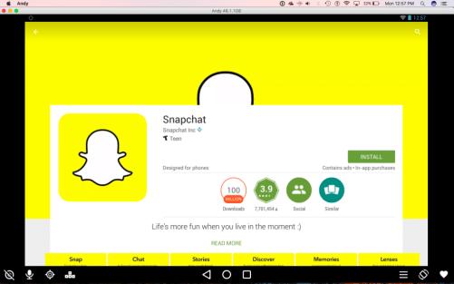 Snapchat Google Play Andy