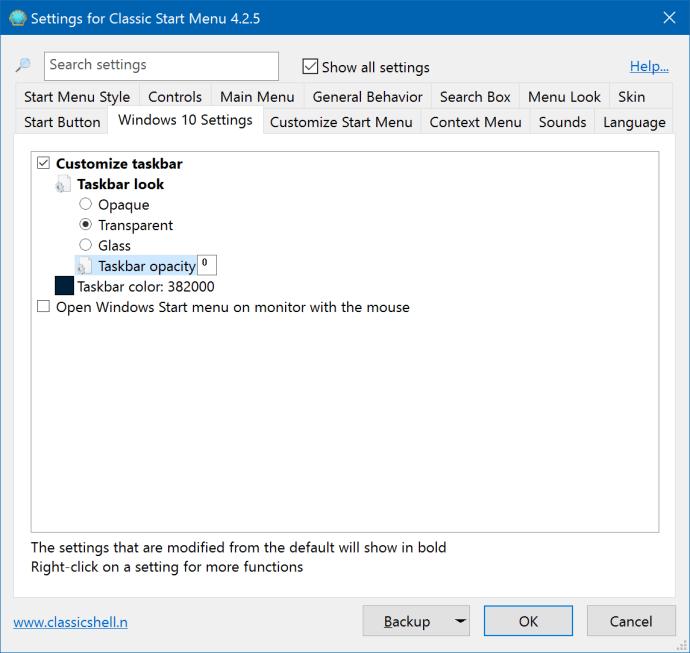 classic shell taskbar transparency
