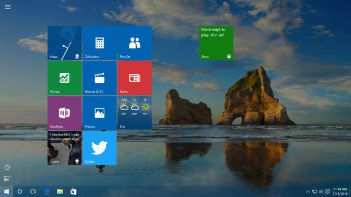 full screen start menu
