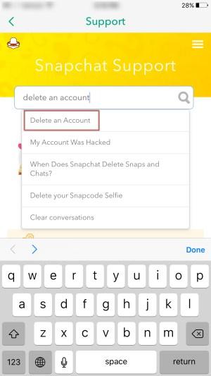 Delete Snap account