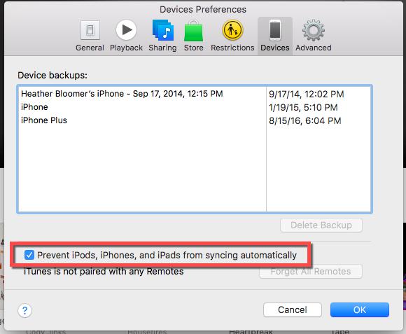 iTunes prevention