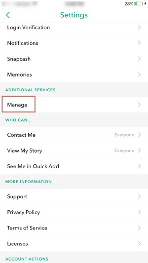 Snapchat manage