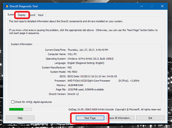how to check your graphics card in windows 10
