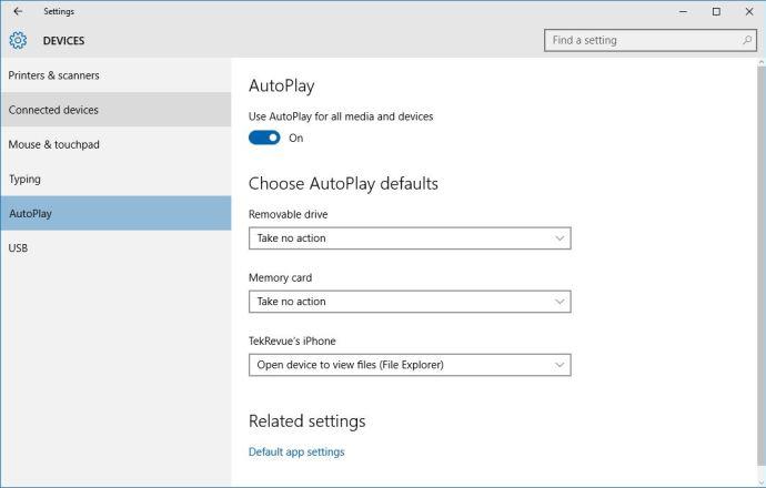windows 10 autoplay settings
