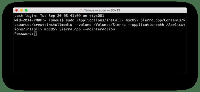 create sierra usb terminal