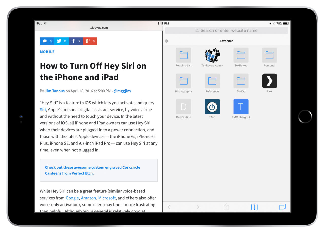 View Two Websites Side-By-Side With Safari Split View in iOS 10