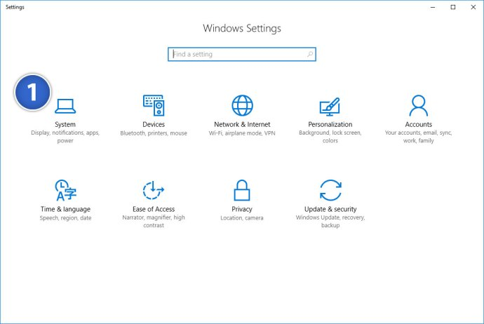 windows 10 settings system