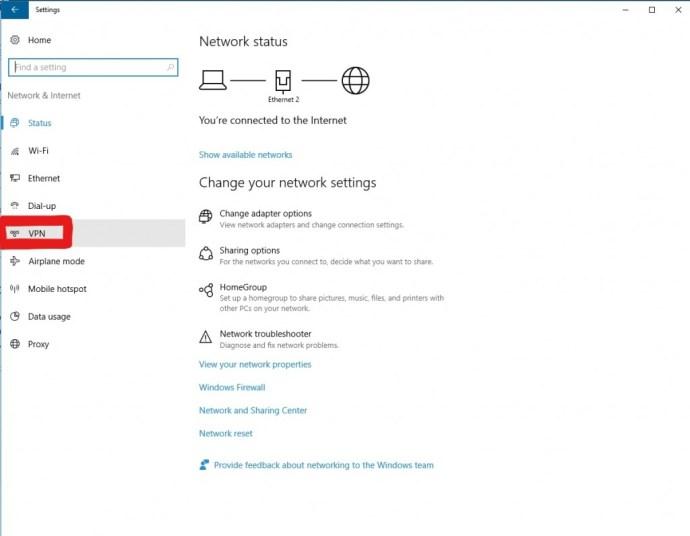 VPN panel