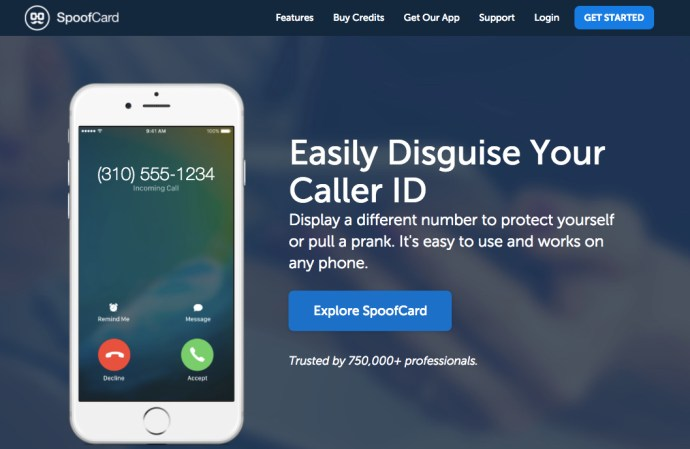 SpoofCard application Web