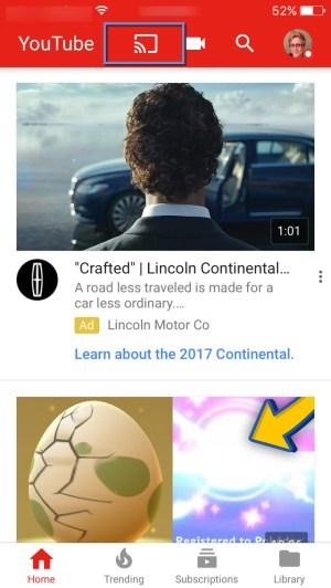 Casting icon YouTube app