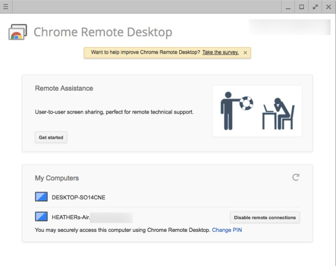 Chrome remote computers