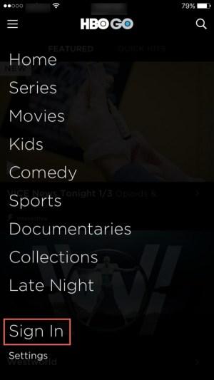 Sign In HBO GO app