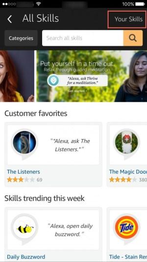 Your Skills Alexa app