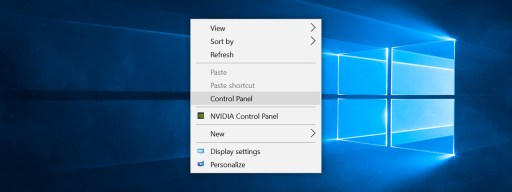 control panel right click windows 10