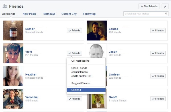 How to remove someone from friends or block someone on Facebook2