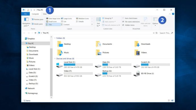 windows 10 file explorer view