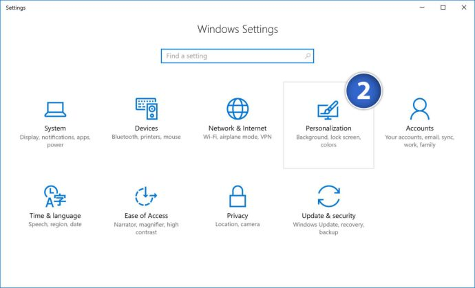 windows 10 settings personalization