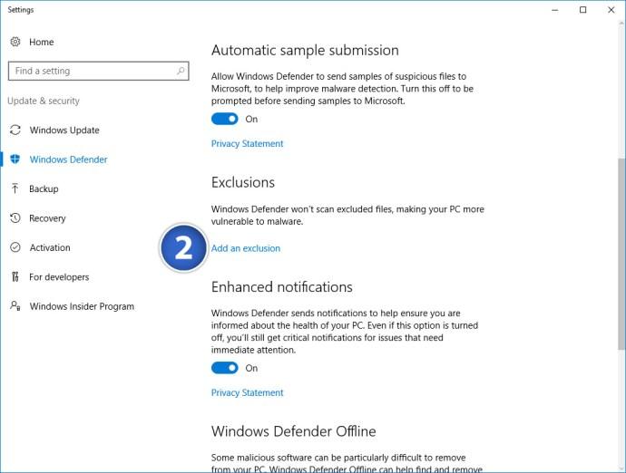 windows defender add exclusion