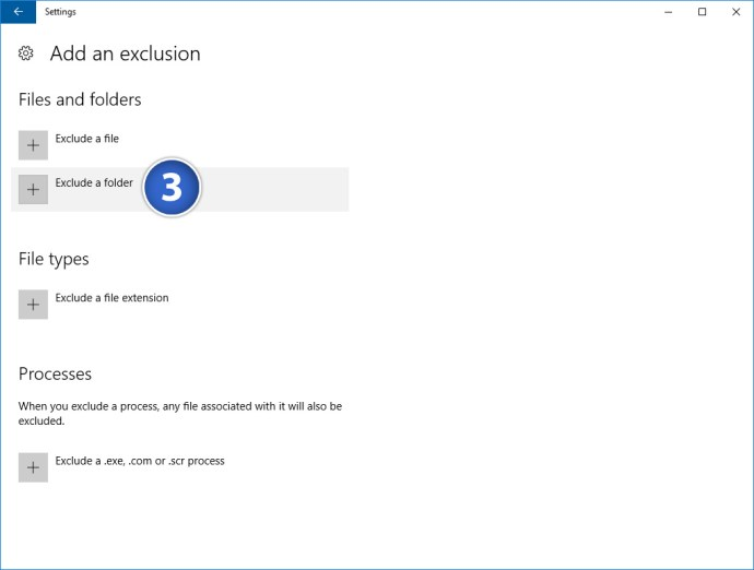 windows defender exclude folder