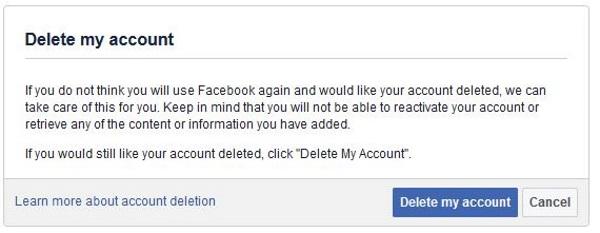 Как навсегда удалить свою учетную запись Facebook3