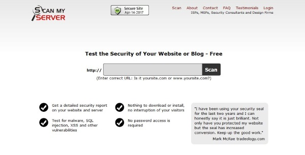 How to scan and check the security of the site 3